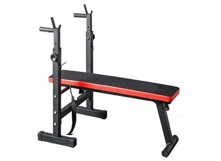 Zoogamo Adjustable Folding Fitness Weight Bench and Barbell