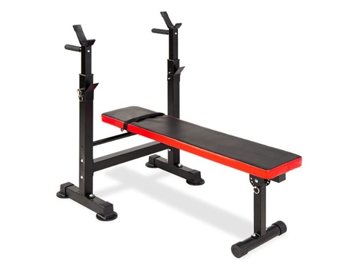 Best choice products adjustable folding fitness barbell rack and weight bench set